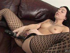 Sexy Aria Aspen enjoys dildo fucking her moist snatch