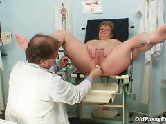 Mature Vilma has her pussy properly gyno checked at gyn