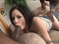 Tatiana Kush spreads her lips round a massive prick