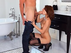 Blazing Lexi Bloom shoves a hard dick down her throat