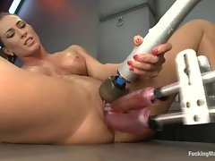 Roasting Ariel Carmine takes two dildo's up her snatch