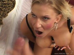 Xana Star gets her face blasted with hot dick juice