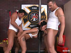 Emily B gets spit roasted by these hard pricks