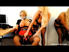 Lesbian bitch boss spanks and licks gorgeous babe Lucy