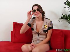 Awesome brunette cop strips outta her hot uniform