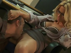 Red hot Jessica Drake gets tongue fucked up her slot