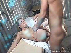 Rampant nurse Harmony Rose gets her snatch pummelled