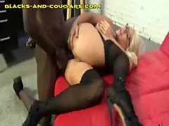 Big Titted Cougar Gets Interracial Anal