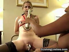 Lesbo slut bounded and fucked with a toy