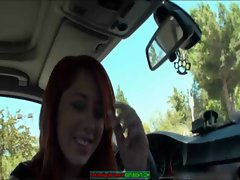 Great red haired hot teen fucking in car