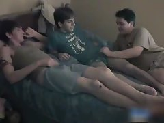 Straight teen in a gay Threesome gays