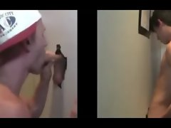 Cap wearing dude blows straight guys cock through glory hole and gets him to cum