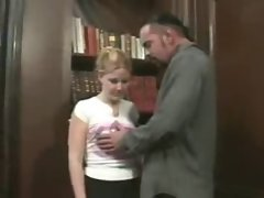 Blonde Young teen Cherry poppens seduce old man in office