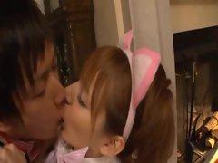 Japanese maiden licking body