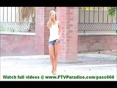 Jessi hot amateur blonde undressing and toying wet pussy outdoors near fountain