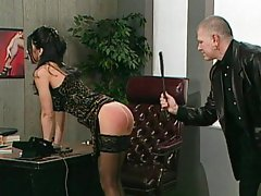 Office submissive slut spanked like hell