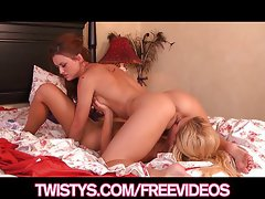 Sexy redhead babe plays with her hot blond GF