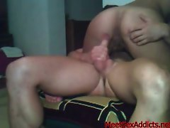Skinny Latina Bangs Her Man in the Bedroom