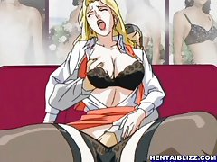 Lingeries office anime girl fingering wetpuss