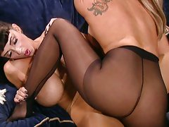 Foot fetish pantyhose big tits lesbian bitches