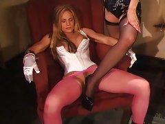 Blonde fetish slut spanked with passion