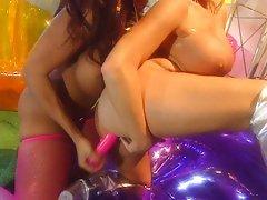 Busty lesbian bitches bikini pussy treatment