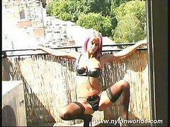 Pinkhaired slut posing in lingerie