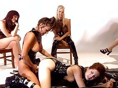 Strapon lesbians in hot latex slippery fun