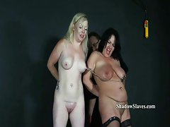 Two slavesluts tit tormented and breast whips