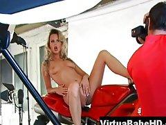 Sandra Sanchez nude on a Ducati moto
