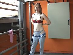 German girl stripping at public place