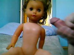 My cum on gf doll