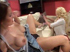 British slut Michelle Thorne lesbian action on the sofa