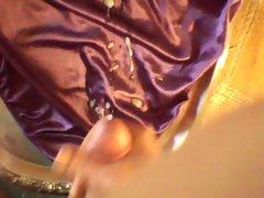 purple satin panty cum