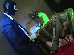 British blonde gets fucked in a spooky house by a masked man