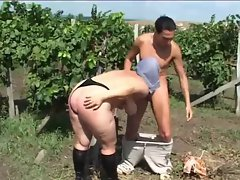 Chubby blonde with natural hangers fucked on the vineyard