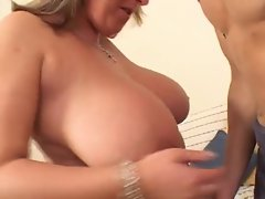 Busty Blonde Mature Bounces (British)