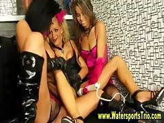 Horny pissing lesbians get drenched