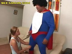 Chubby hairy dude in costume is getting blown by blonde girl