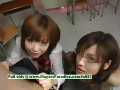 Nao Ayukawa and Rio Hamaski hot babe lovely asian babes enjoys fucking with their students