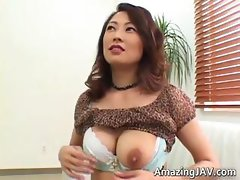 Busty asian babe showing her fine part1
