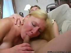 Busty blonde Russian aunt blows and bangs her nephew and sucks him off