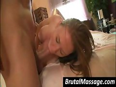 Busty brunette went for a massage and got a hard cock to fuck