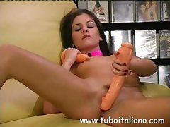Two hot Italian lesbian babes get together for hot dildo action