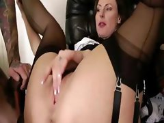 British mature in stockings sucks and gets fucked