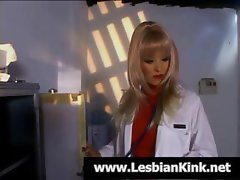 Wanton biddy nurse with an inferior kebab gets it on with a lady doctor