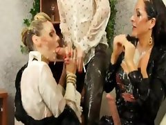 Three glamorous lesbians play bukkake games