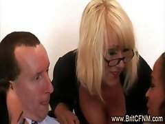 Three bad british ladies tease amateur CFNM guy