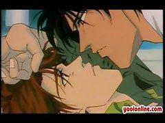 Two hentai gays having hot kiss