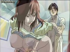 Sexy busty brunette anime gets fingered and then banged from behind